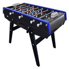 Black & Blue Beechwood Foosball Table with Aluminium Handles, Made in France