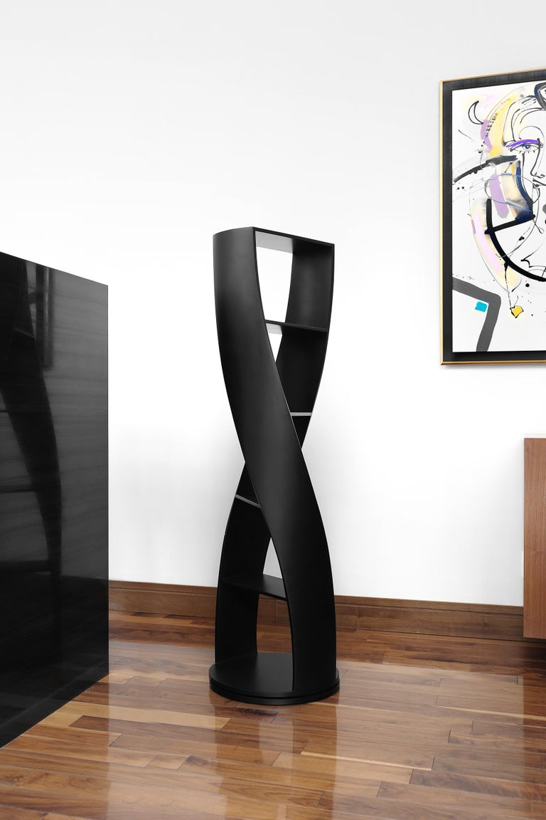Mexican Black Bookcase and Storage System MYDNA Collection by Joel Escalona For Sale