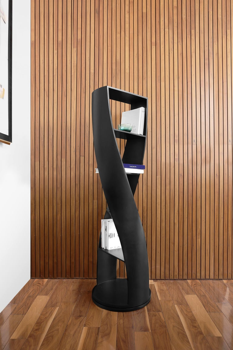 Lacquered Black Bookcase and Storage System MYDNA Collection by Joel Escalona For Sale