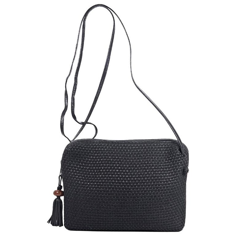 d8dfb229b0ac Black Bottega Veneta Woven Canvas Bag at 1stdibs