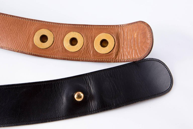 Black Boxcalf Leather Piano Hermes Belt In Good Condition For Sale In Paris, FR