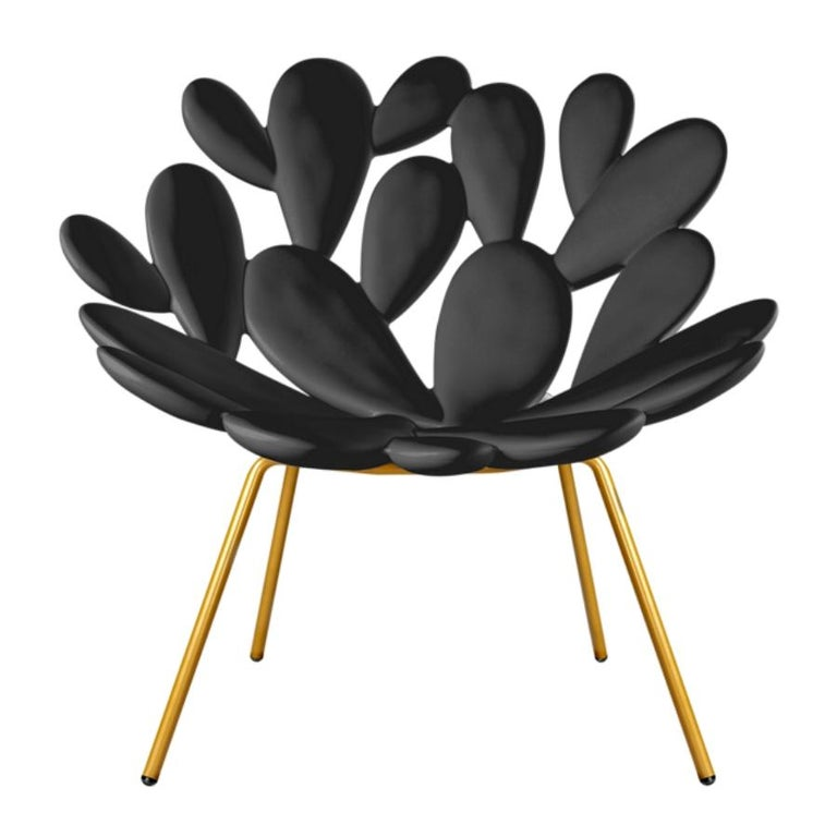 Modern In Stock in Los Angeles, Black and Brass Outdoor Cactus Chair by Marcantonio For Sale