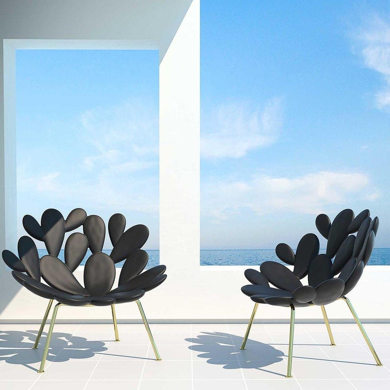 Italian In Stock in Los Angeles, Black and Brass Outdoor Cactus Chair by Marcantonio For Sale