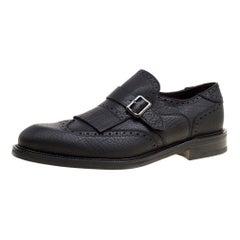 Black Brogue Leather Genesis Fringe Detail Wingtip Loafers Size 43.5