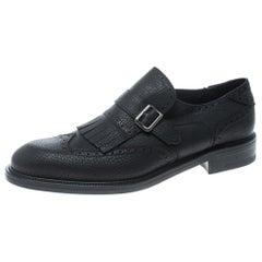 Black Brogue Leather Genesis Fringe Detail Wingtip Loafers Size 45
