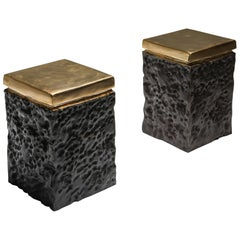 Black and Bronze Lava Stools