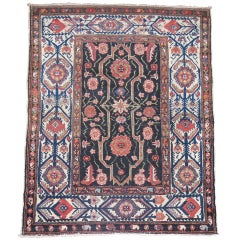 Black Brown Antique Persian Malayer Throw Square Rug