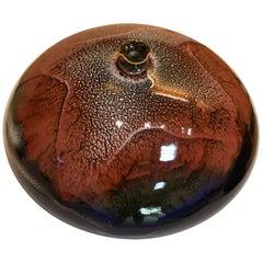 Japanese Contemporary Black Brown Hand-Glazed Porcelain Vase by Master Artist