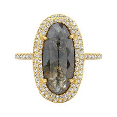 Black & Brown Oval Diamond Slice Ring with Diamond Pave Halo in 18k Yellow Gold