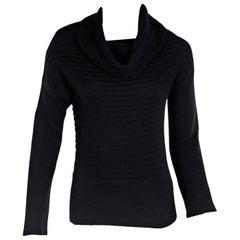 Black Brunello Cucinelli Ribbed Cashmere Sweater