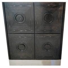 Black Brutalist Bar Cabinet, 1970s