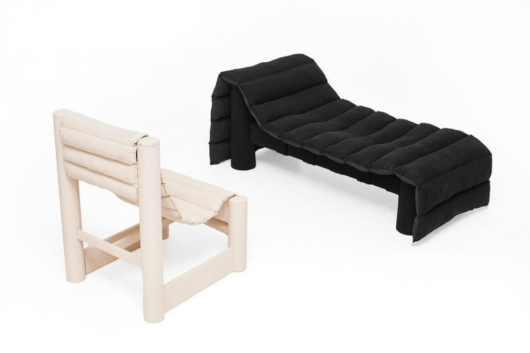 Modern Black Bull Denim Daybed with Recycled Textile Filling by LikeMindedObjects For Sale