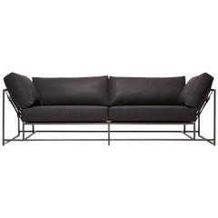 Black Canvas & Blackened Steel Two Seat Sofa