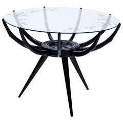 Black Carlo de Carli' Spider Coffee Table with Glass Top, Italy, 1950s