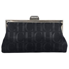 Black Carolina Herrera Silk Logo Clutch