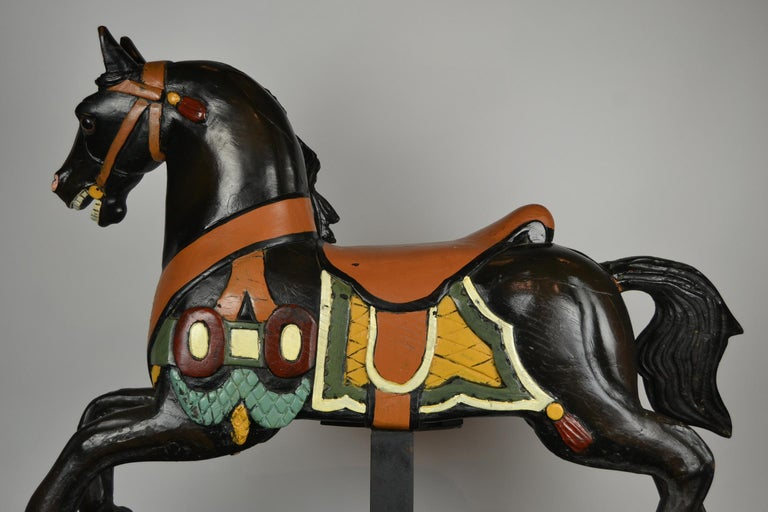 Black Carousel Horse, Wood Horse Sculpture on Metal Base, 1960s For Sale 9