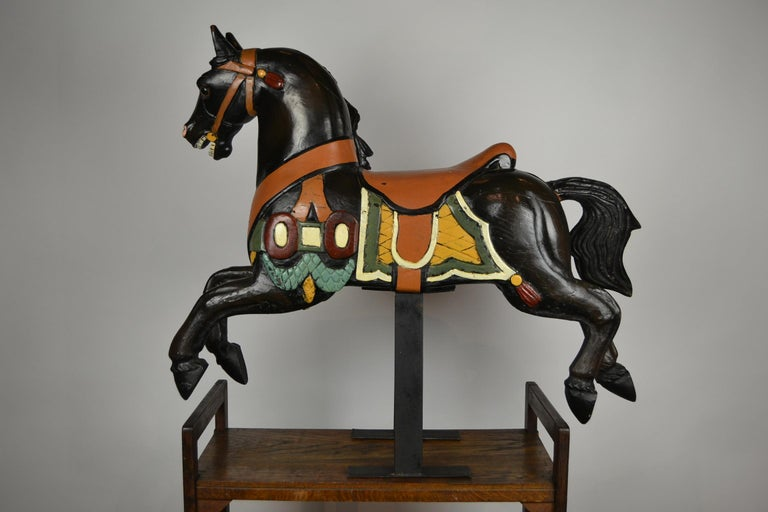 Black Carousel Horse, Wood Horse Sculpture on Metal Base, 1960s For Sale 10