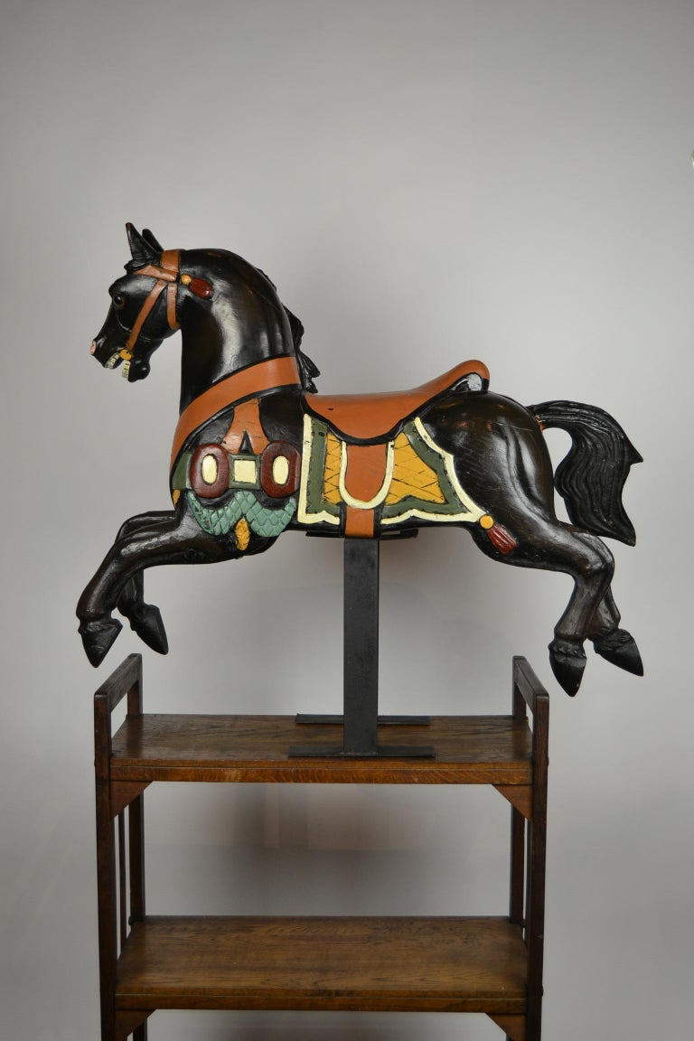Black Carousel Horse, Wood Horse Sculpture on Metal Base, 1960s For Sale 1