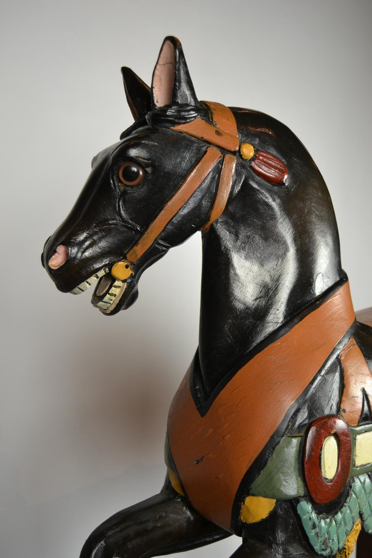 Black Carousel Horse, Wood Horse Sculpture on Metal Base, 1960s For Sale 2