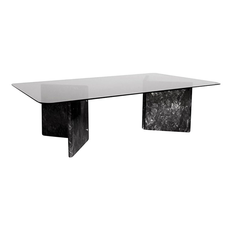 Marble Glass Top Coffee Table: Black Carrara Marble Coffee Table With Glass Top For Sale