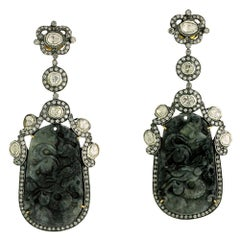 Black Carved Jade Earring with Diamonds