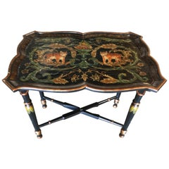Black Carved Wood Tray Table and Stand with Tiger Motif