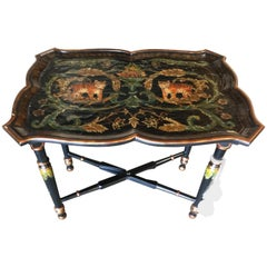 Black Carved Wood Tray Table and Stand with Tiber Motif