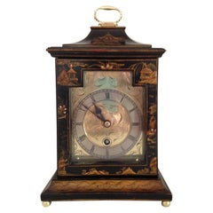 Black Cased Chinoiserie Georgian Style Clock by Astral of Coventry, circa 1920