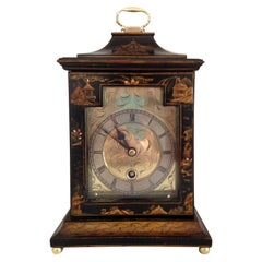 Black Cased Chinoiserie Mantel Clock by Astral of Coventry, circa 1920