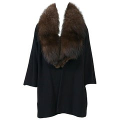 Black Cashmere-Blend Jacket with Fox Collar