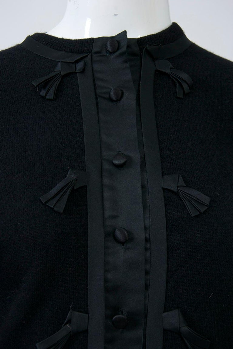 Black Cashmere Cardigan with Satin Trim In Good Condition For Sale In Alford, MA