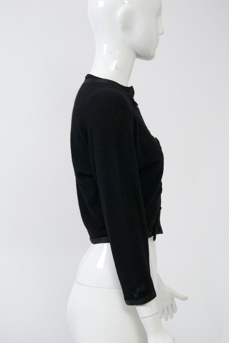 Women's Black Cashmere Cardigan with Satin Trim For Sale