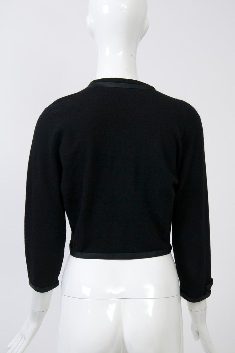 Black Cashmere Cardigan with Satin Trim For Sale 2