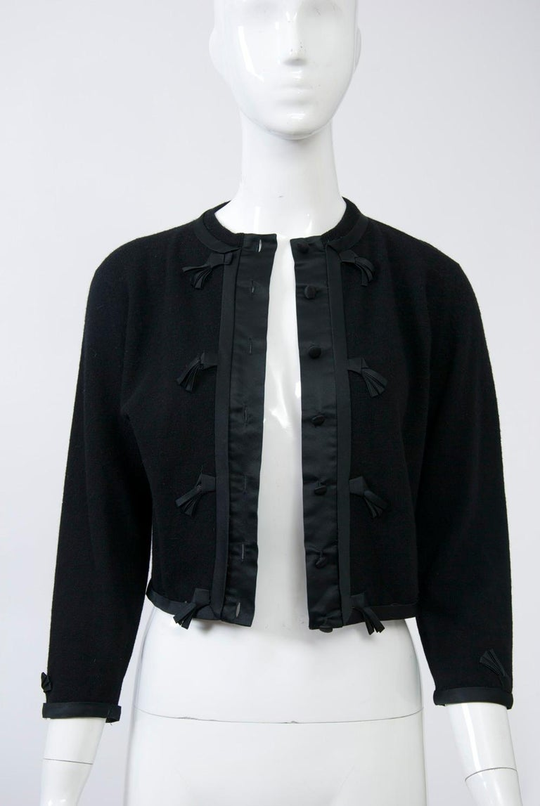 Black Cashmere Cardigan with Satin Trim For Sale 4
