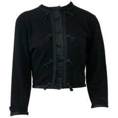 Black Cashmere Cardigan with Satin Trim
