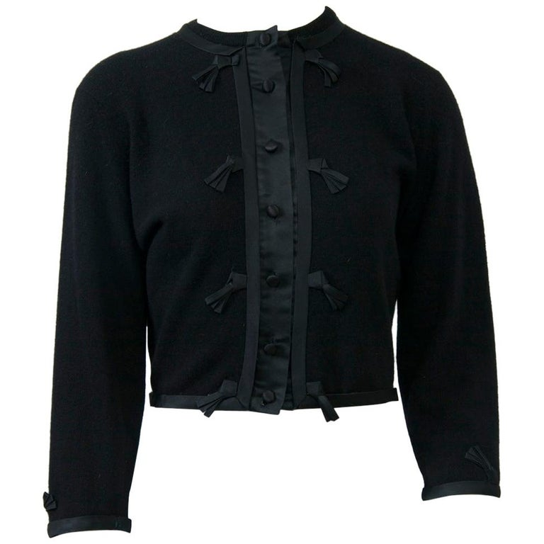 Black Cashmere Cardigan with Satin Trim For Sale