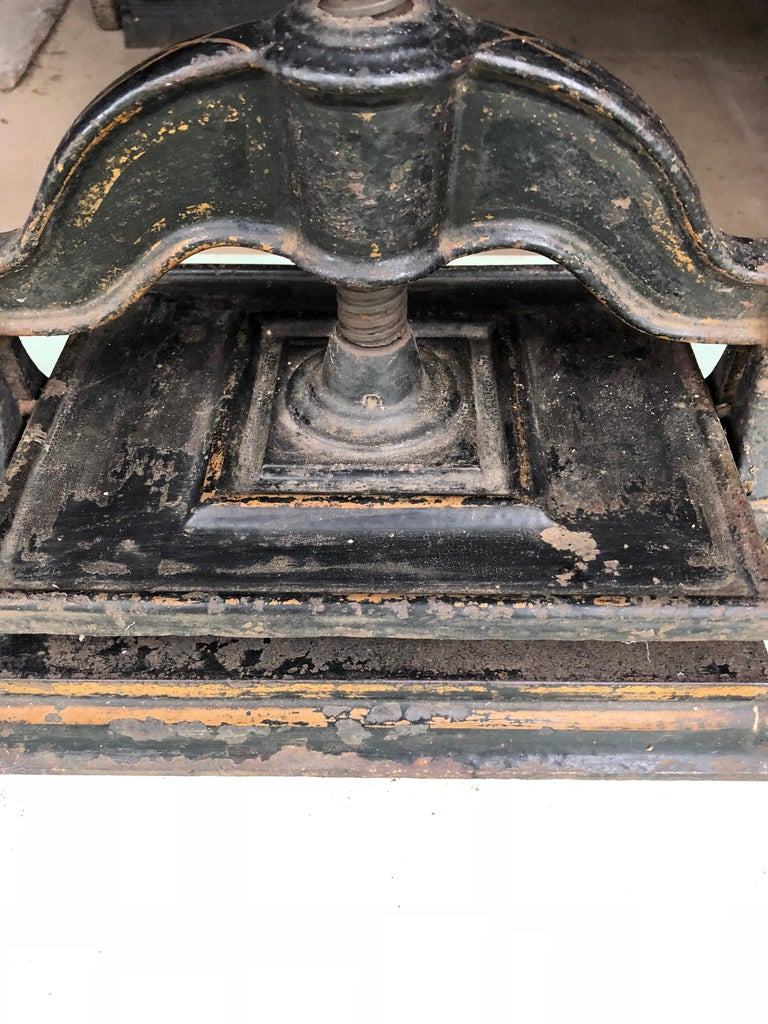 Aesthetic Movement Black With Gold Decoration Cast Iron Book Press, circa 1900 For Sale