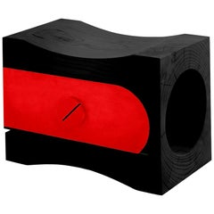 In stock in Los Angeles, Black Cedar / Red Lacquered Stool, Alessandro Guidolin