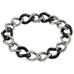 Black Ceramic and 18 Karat White Gold Chain Bracelet with White Diamonds
