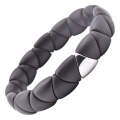 Black Ceramic and 18 Karat White Gold Station Bracelet