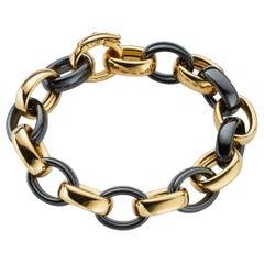 Black Ceramic and 18K Yellow Gold Marilyn XL Link Bracelet