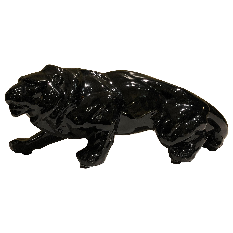 Black Ceramic Animalier Lion Sculpture