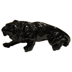 Black Ceramic Animalier Lion Sculpture