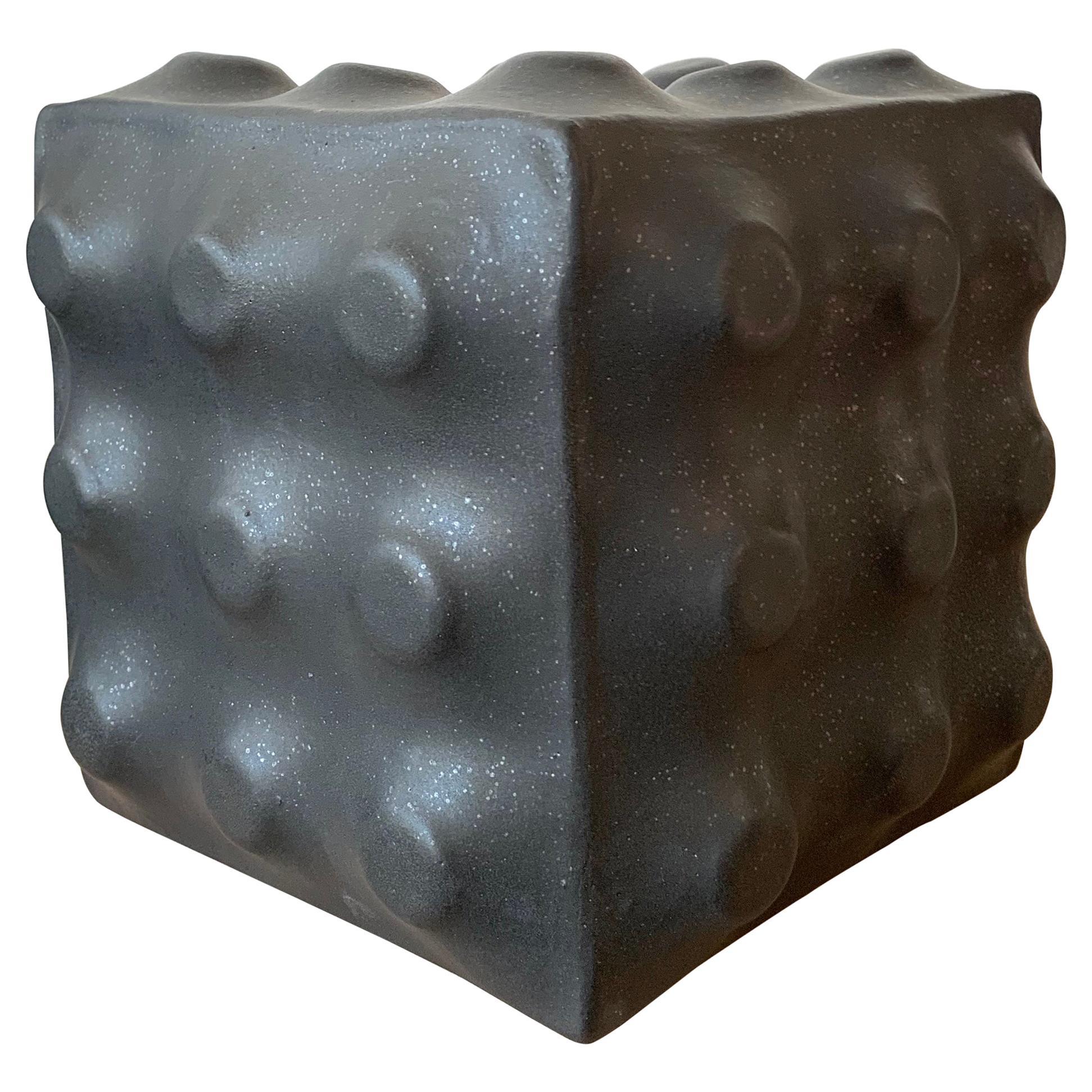 Black Ceramic Cube Sculpture by Luke Shalan
