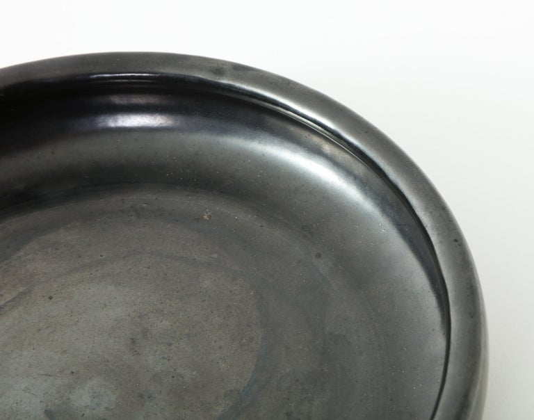 French Black Ceramic Dish by Accolay, France, 1960s For Sale