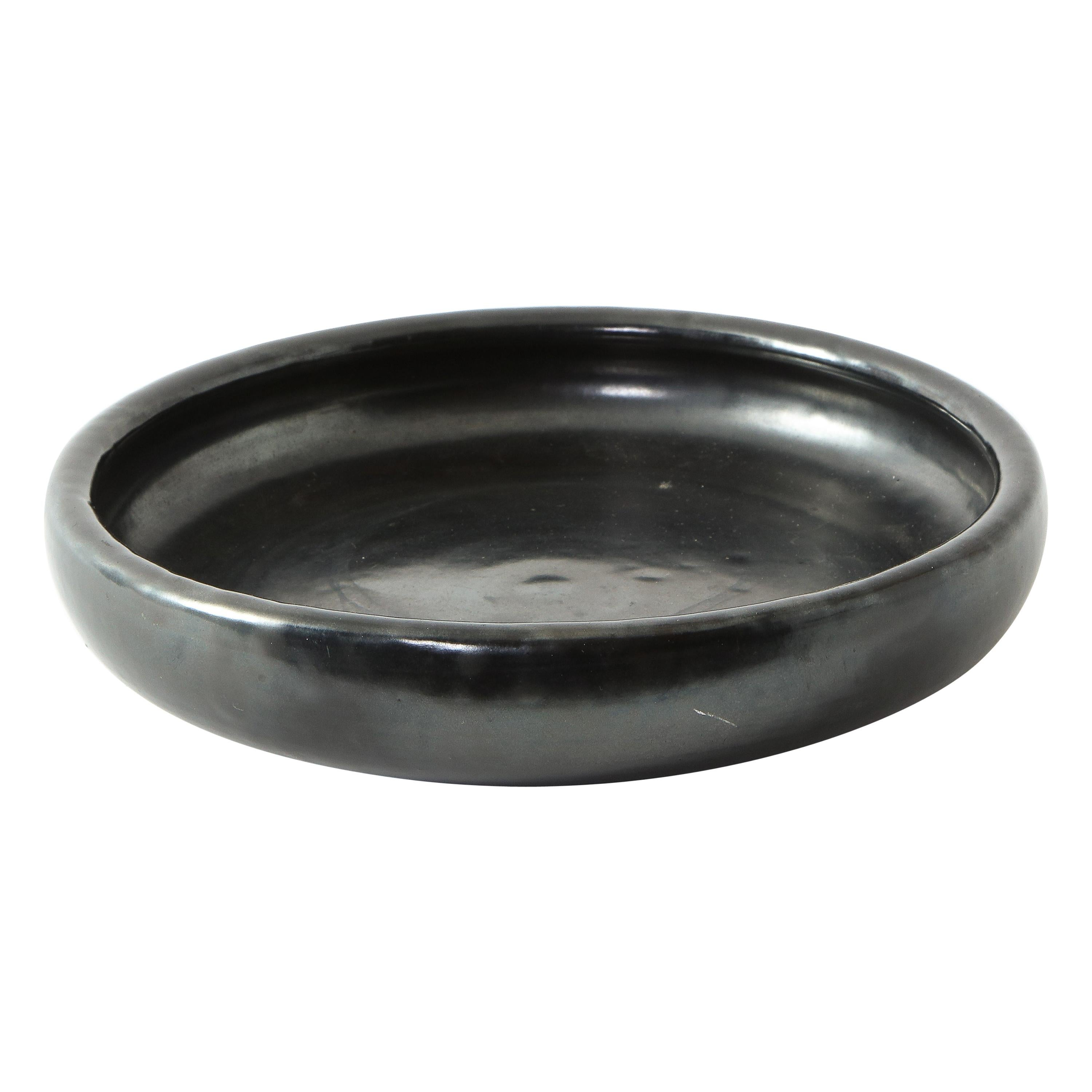 Black Ceramic Dish by Accolay, France, 1960s