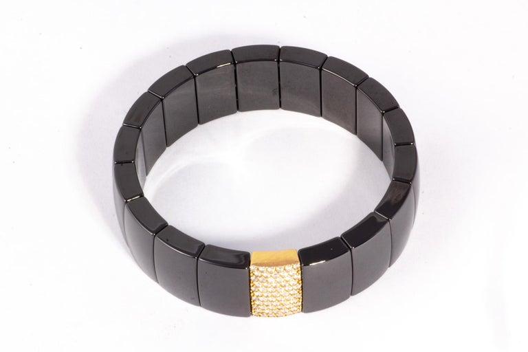 Chic Flexible Black Ceramic Bracelet with 18k Rose Gold and White Diamond Insert-1.5 carats Diamonds-color F-G clarity-VS