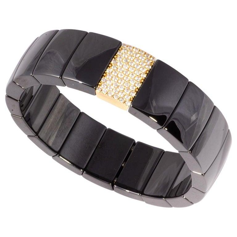 Black Ceramic Flexible Bracelet with Rose Gold and Diamond Ornamentation For Sale