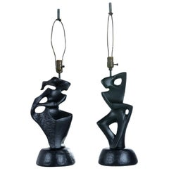 Black Ceramic Modern Cubist Figural Male and Female Table Lamps by RIMA, NY