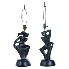 Black Ceramic Modern Cubist Figural Male & Female Table Lamps by RIMA NY